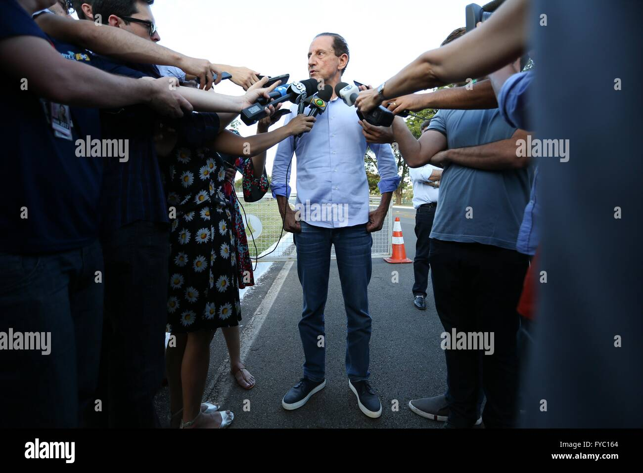 President of the influential Sao Paulo industry federation Paulo Skaff speaks to the media following a meeting with - Stock Image
