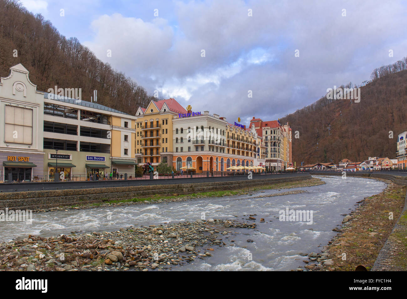 ROSA KHUTOR, RUSSIA - MARCH 27, 2016: Msrch view on ski resort of world class Rosa Khutor built in 2013 for the - Stock Image