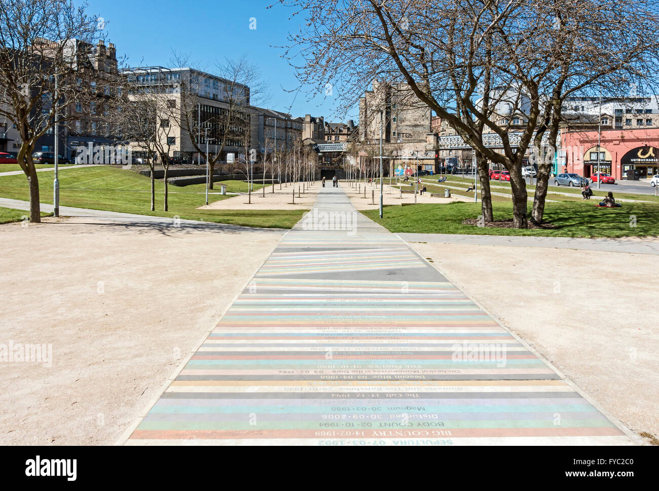 Open space called Barrowland Park at Glasgow Cross between Molendinar Street and Gallowgate in central Glasgow Scotland - Stock Image