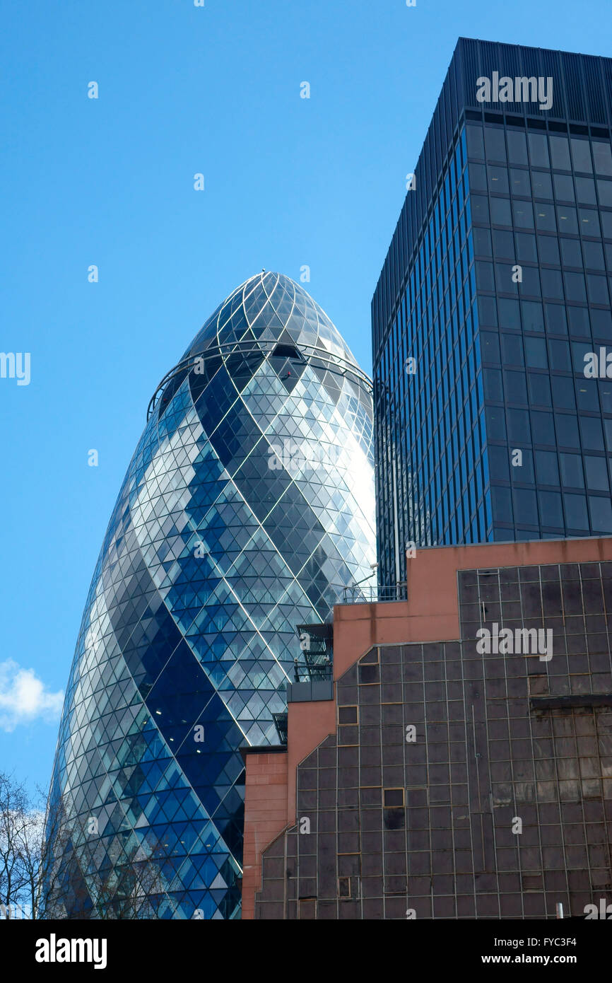 'The Gherkin' City of London Financial district England, UK - Stock Image