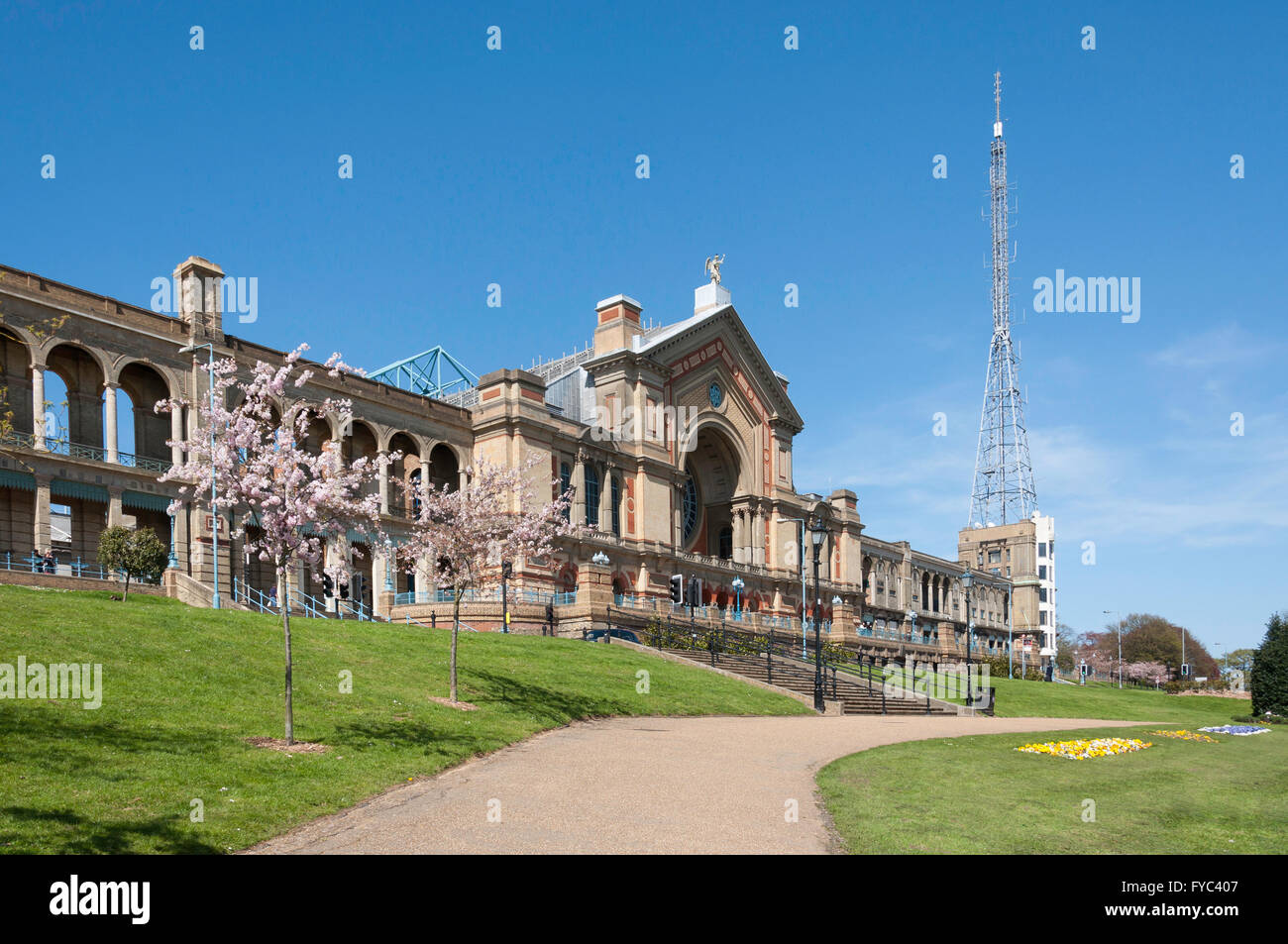 Alexandra Palace in springtime, Alexandra Park, London Borough of Haringey, Greater London, England, United Kingdom - Stock Image