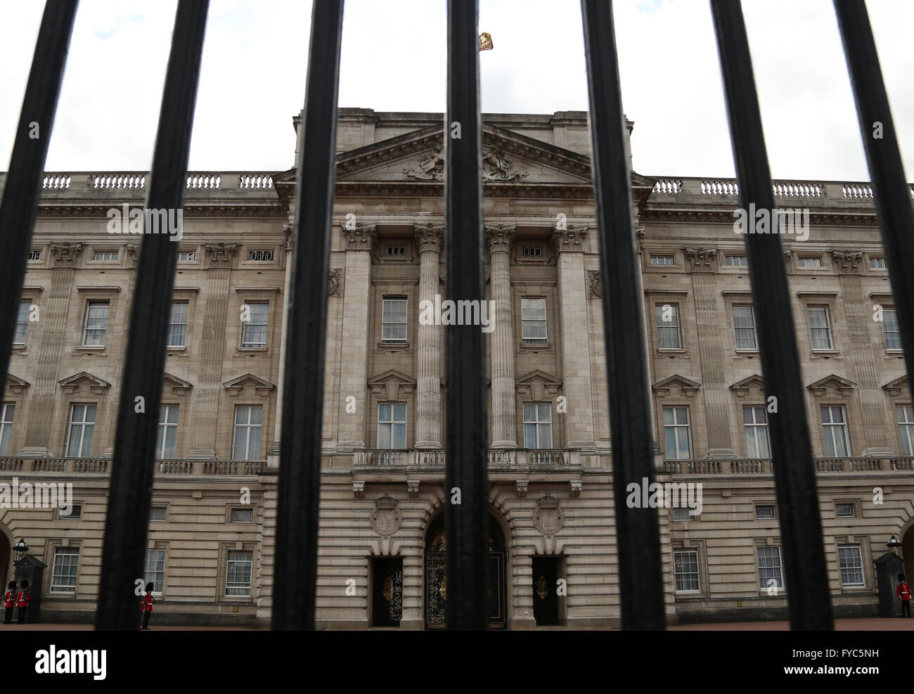 The bars of the iron gate in front of Buckingham Palace. - Stock Image
