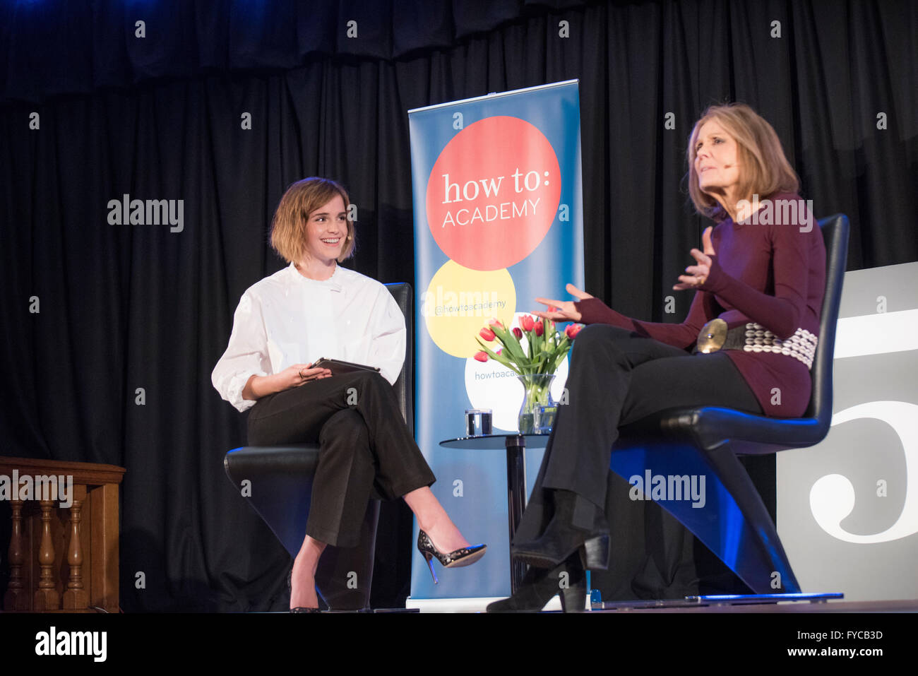 Emma Watson Meets Gloria Steinem.  Emma Watson is an actor best known for her portrayal of Hermione Granger in the - Stock Image