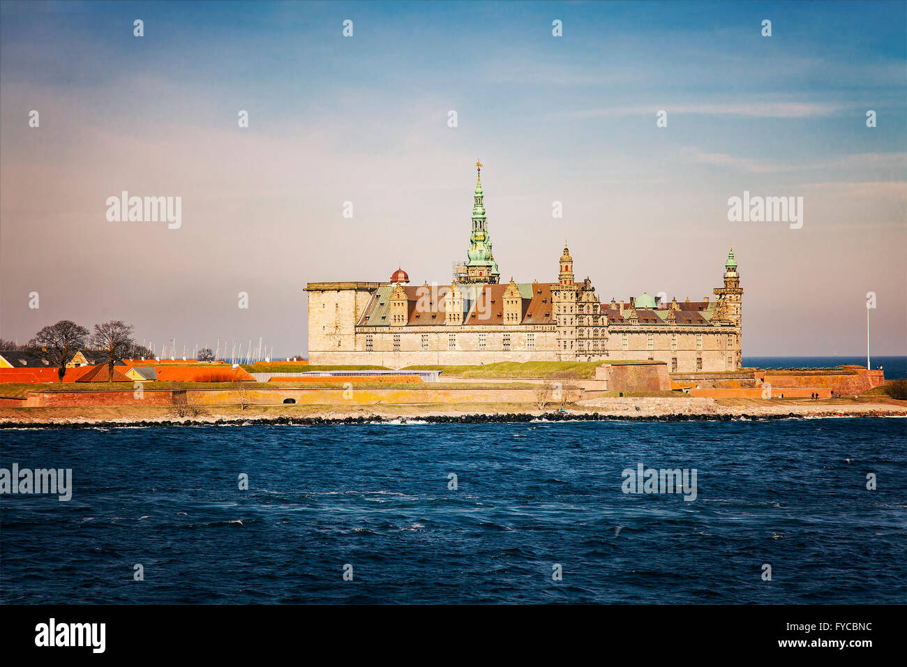 Image of Kronborg Castle in Helsingor, Denmark. - Stock Image
