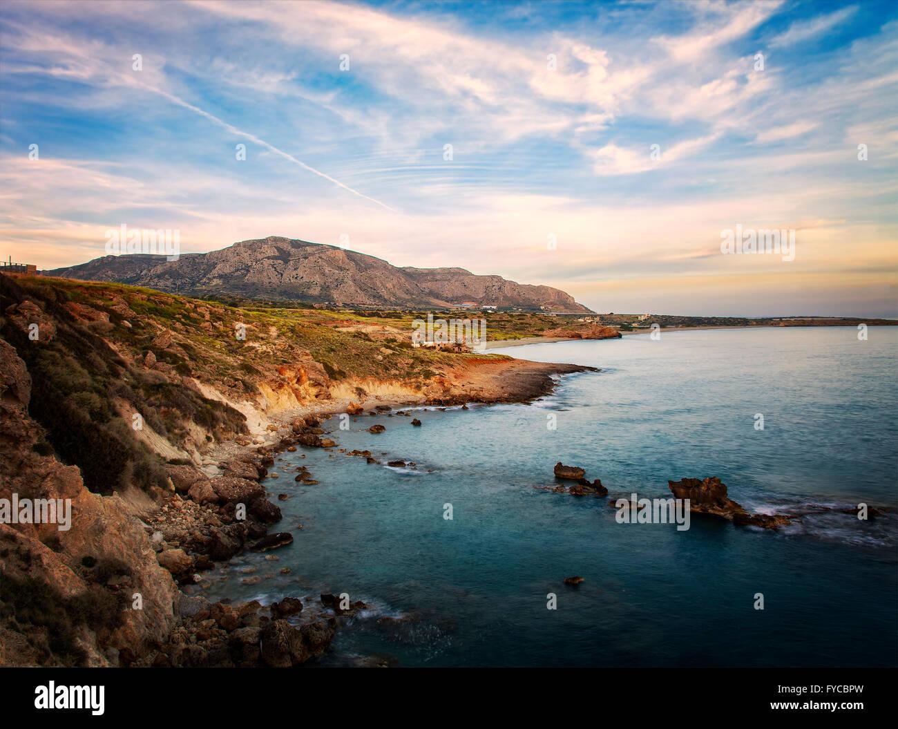 Image of castline on the island of Crete in Greece. Stock Photo
