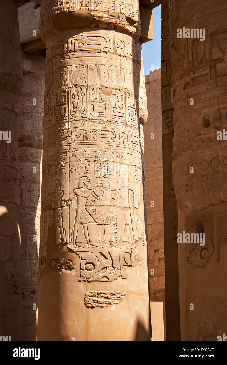 Detail image of hieroglyphic carvings on pillars at temple of Karnak. Lyxor, Egypt. - Stock Image