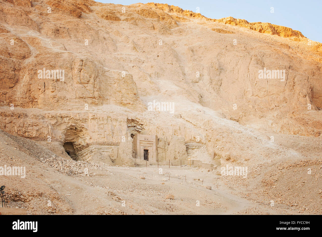Image of a temple entrance in the side of the rock. Valley of the Queens, Egypt. - Stock Image