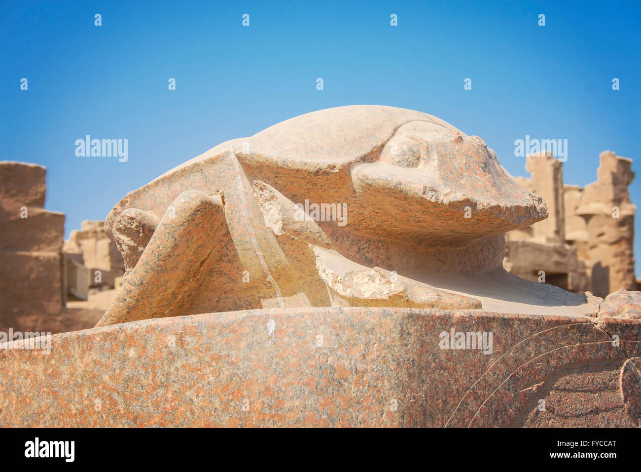 Image of a scarab statue at temple of Karnak in Luxor, Egypt. - Stock Image