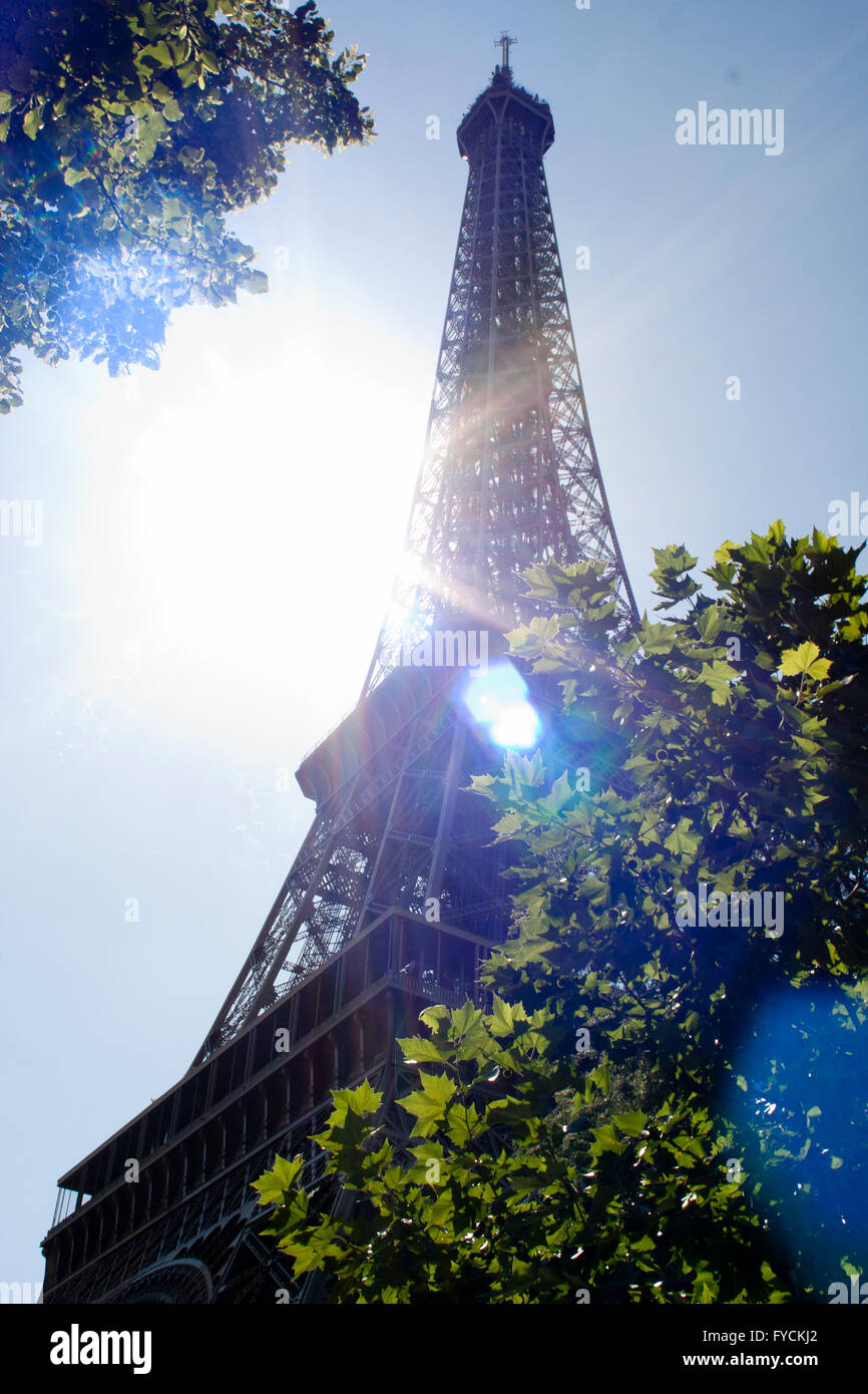 A general view of the The Eiffel Tower in the Champ de Mars in Paris. France - Stock Image