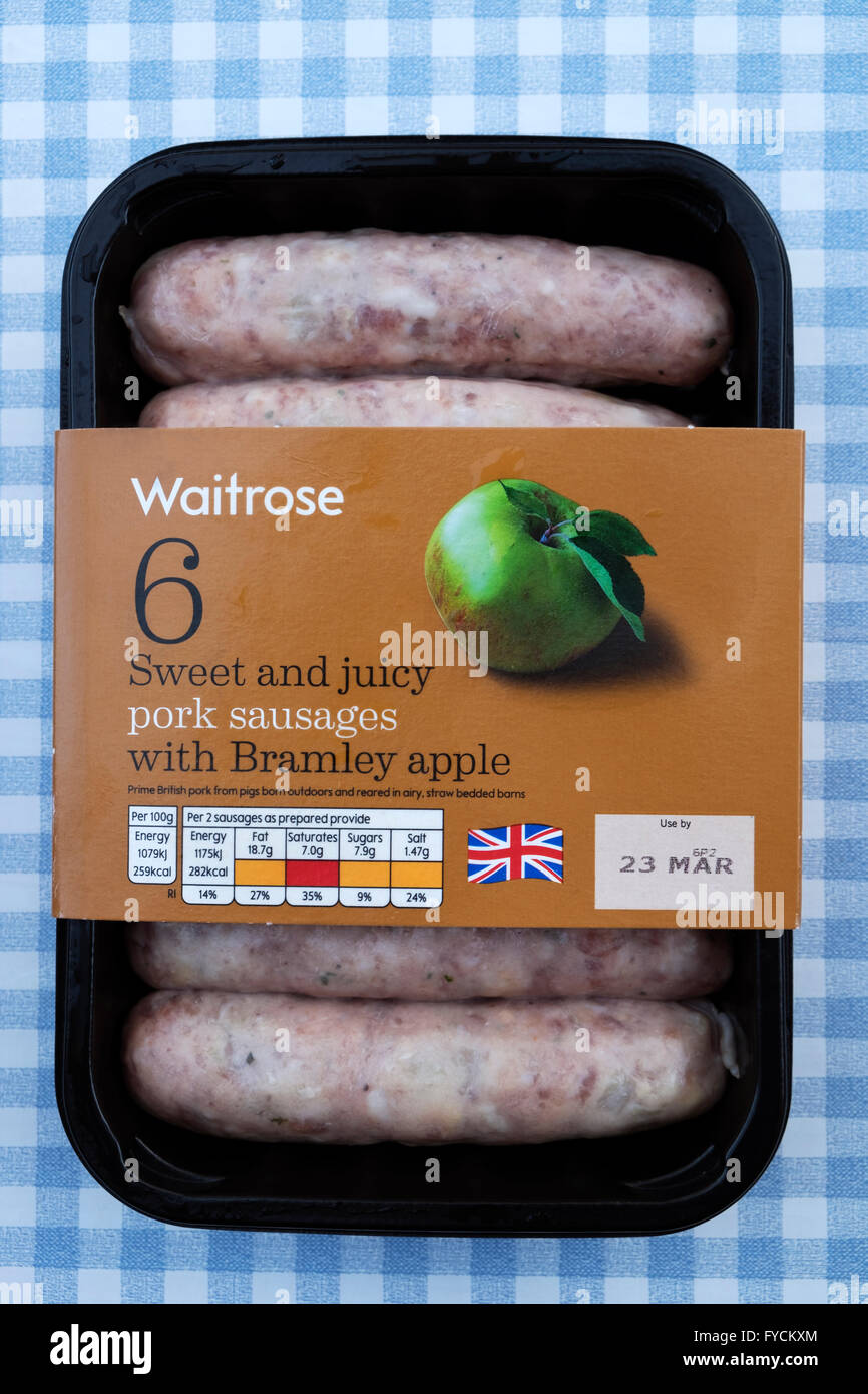 Waitrose pork sausages with Bramley apple - Stock Image