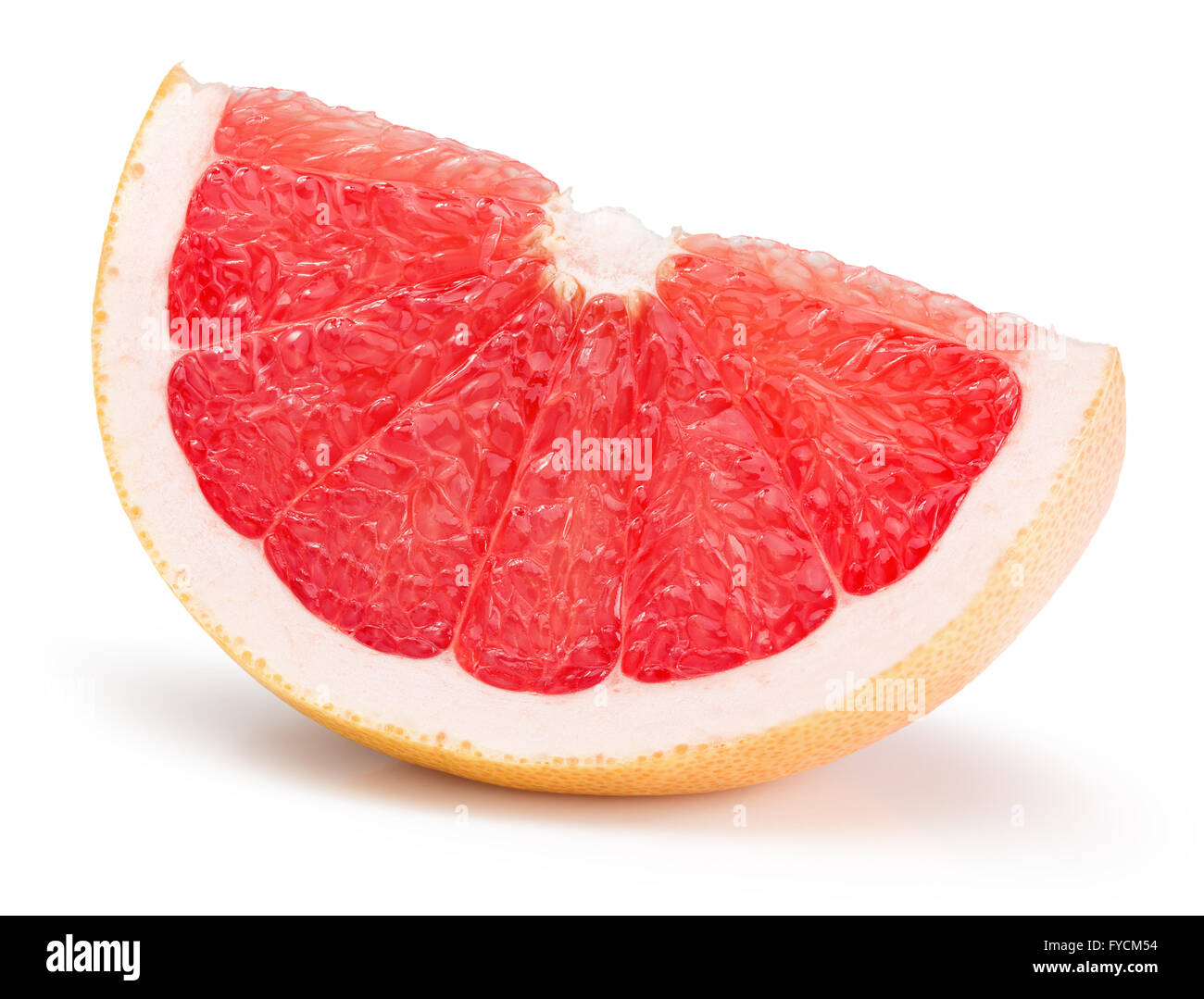 grapefruit slice isolated on the white background. - Stock Image