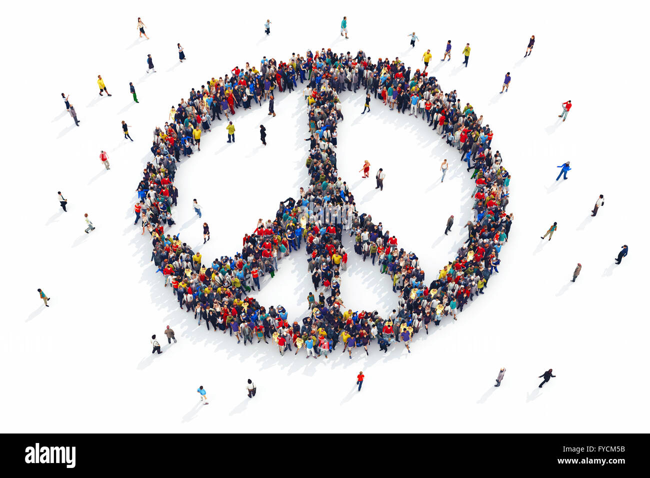3D rendering of people peace - Stock Image