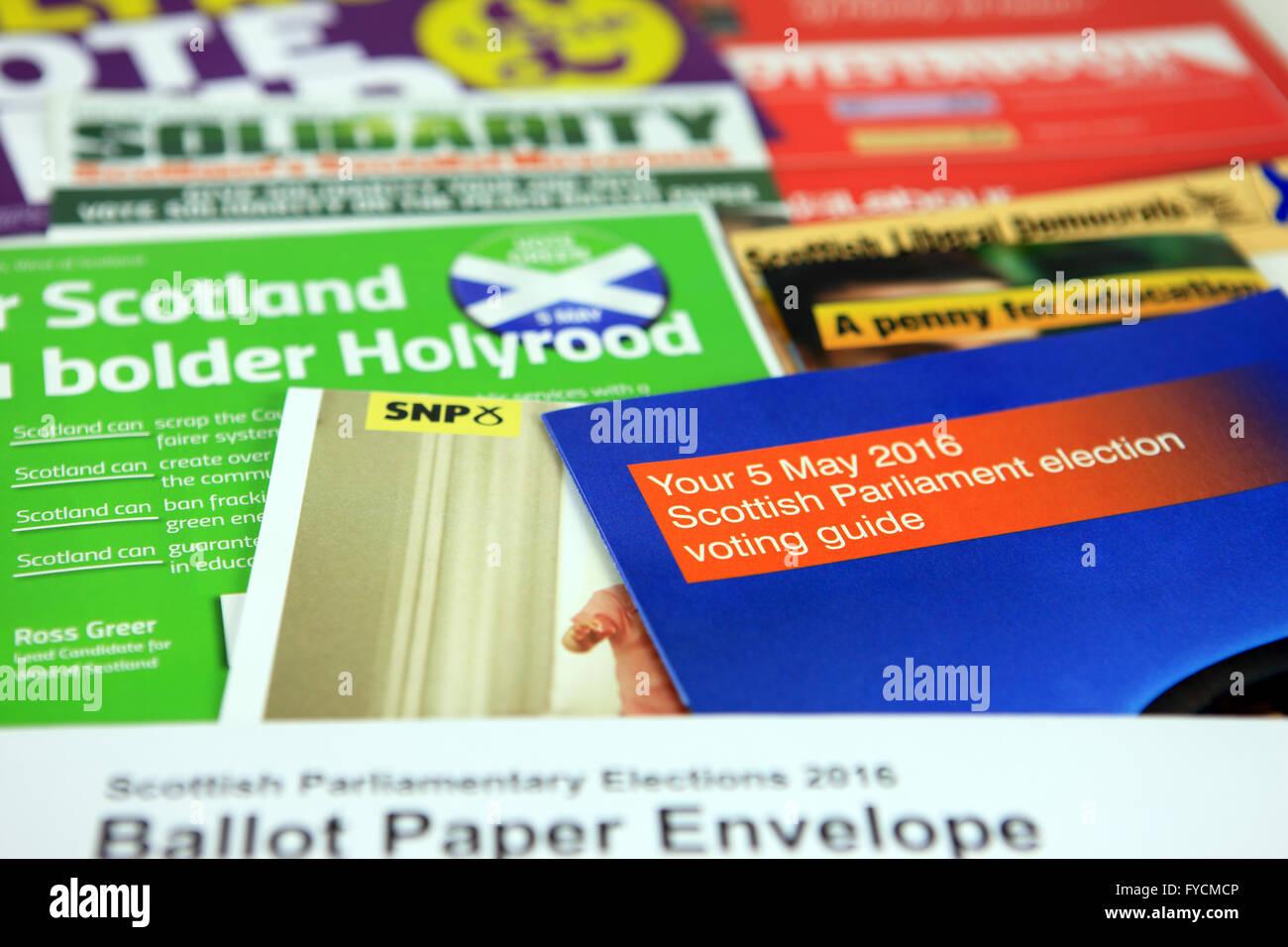 Scottish Parliamentary Elections 2016 leaflets - Stock Image