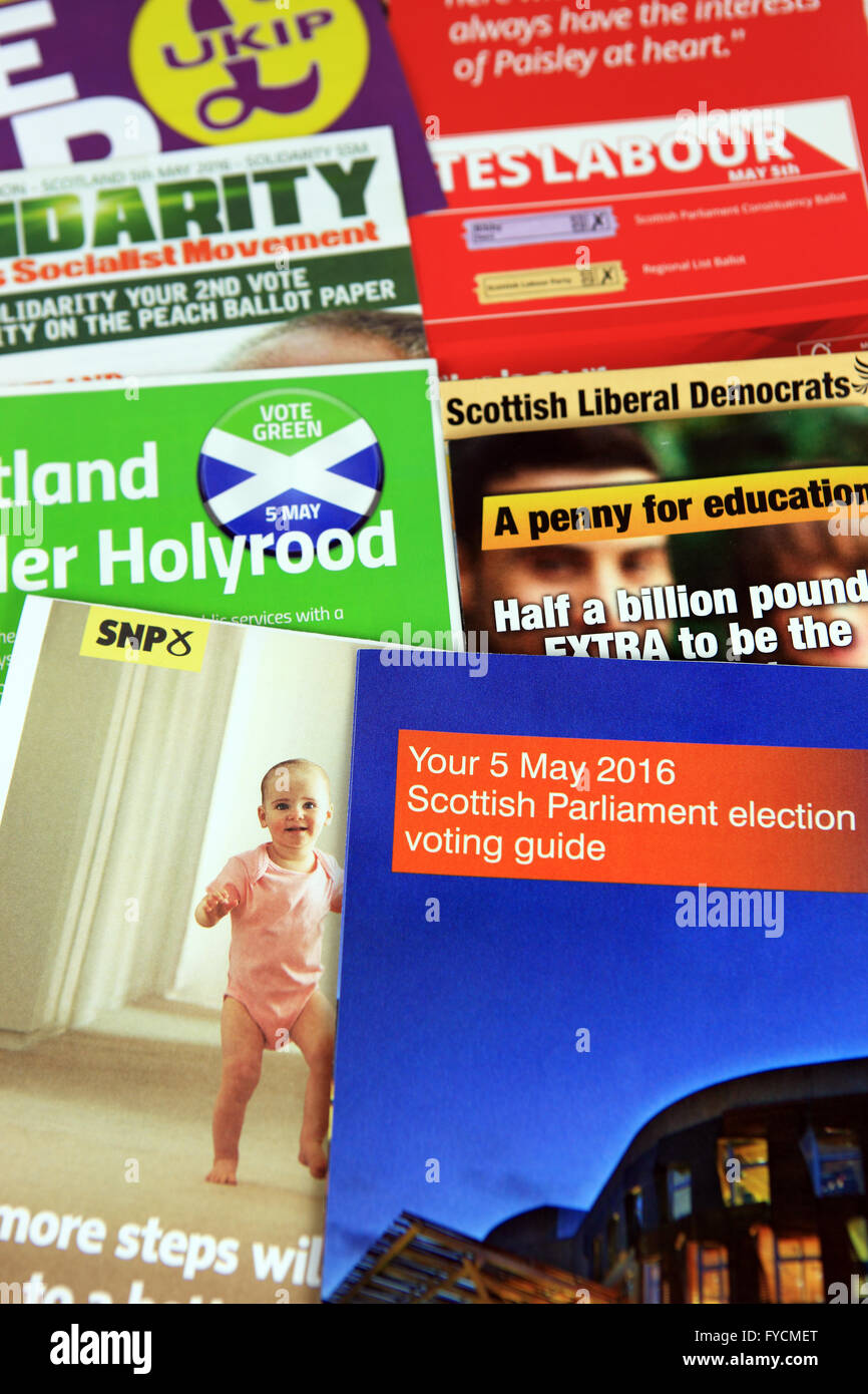 Scottish Parliamentary Elections 2016 leaflets - Stock Image