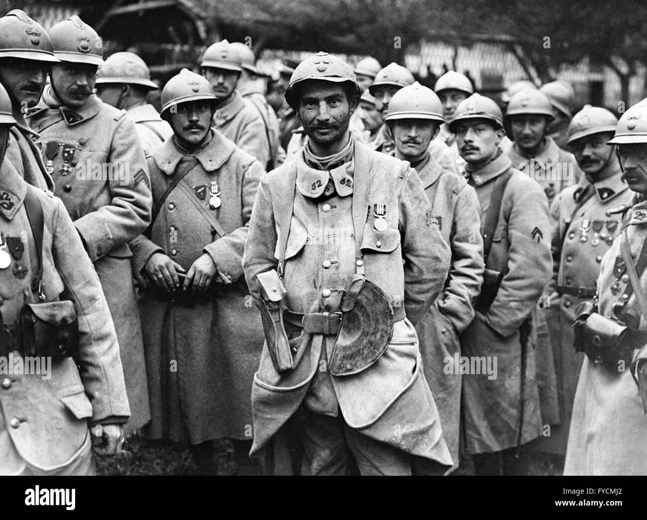 French Infantry soldiers troops during the First World War 1916 - Stock Image