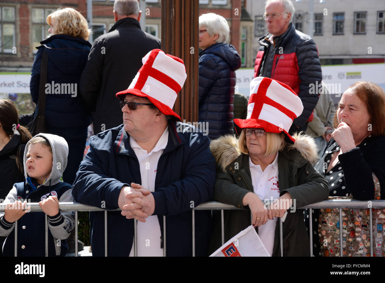 St.George's Day supporters in hats - Stock Image