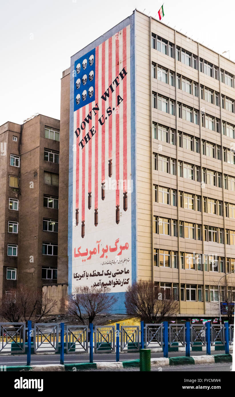 Anti-American propaganda billboard in Tehran Iran Stock Photo