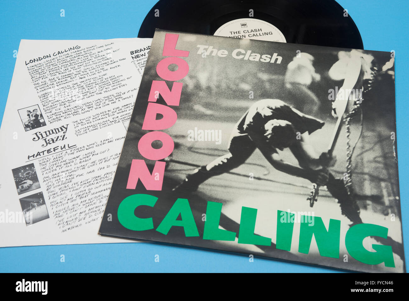 London Calling album on vinyl by The Clash with original sleeve artwork - Stock Image
