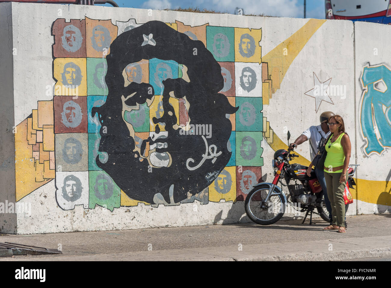 Abstract and weathered wall art around Old Havana featuring politicians and musicians. Cuba. & Abstract and weathered wall art around Old Havana featuring Stock ...