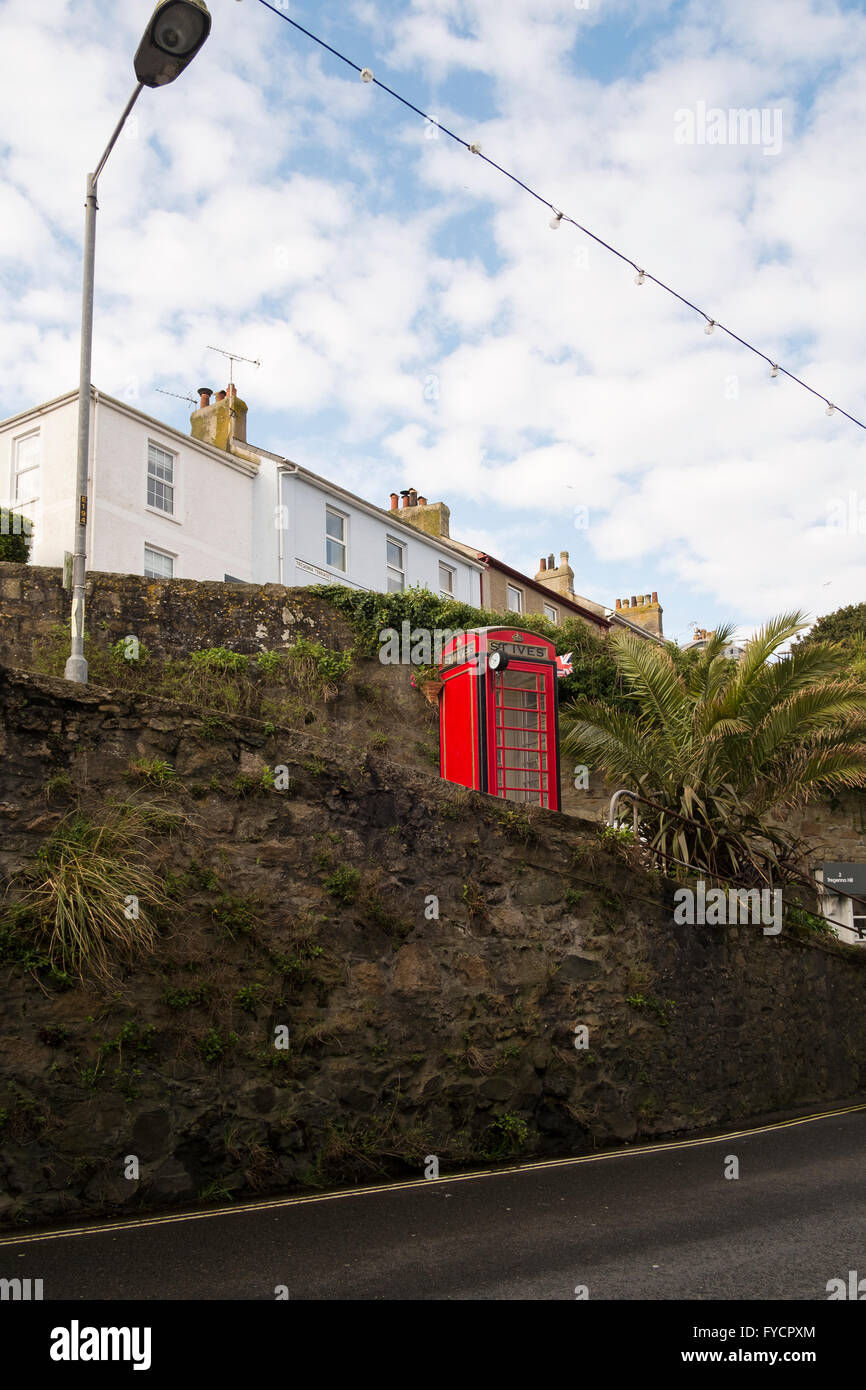 Red telephone box St Ives number 3575 - Stock Image