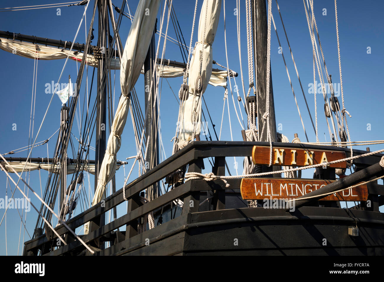 Replicas of Christopher Columbus' ships, Nina and Pinta docked in Ft. Myers, Florida, USA - Stock Image
