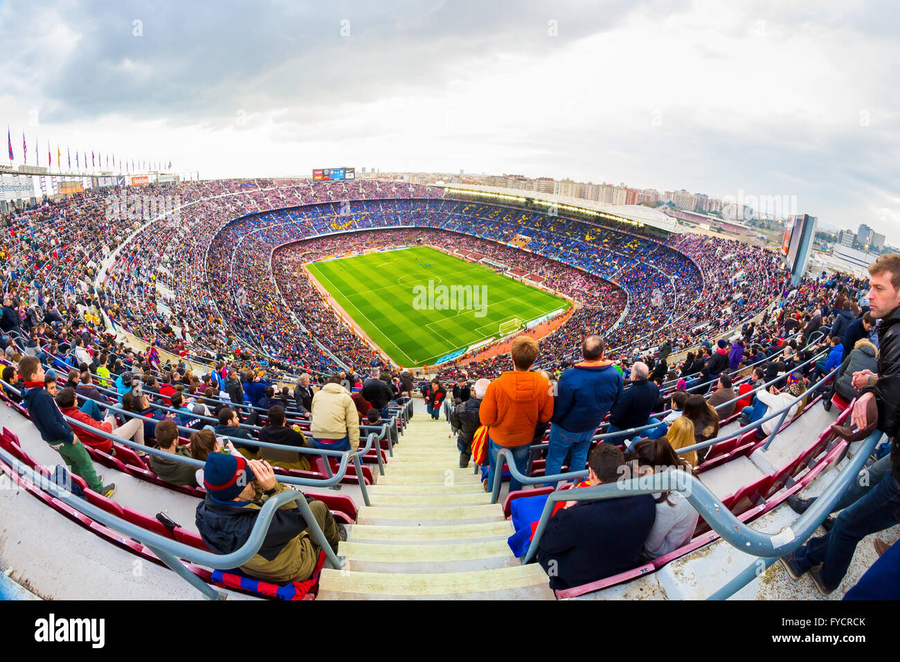 BARCELONA - FEB 21: A general view of the Camp Nou Stadium in the football match between Futbol Club Barcelona and - Stock Image