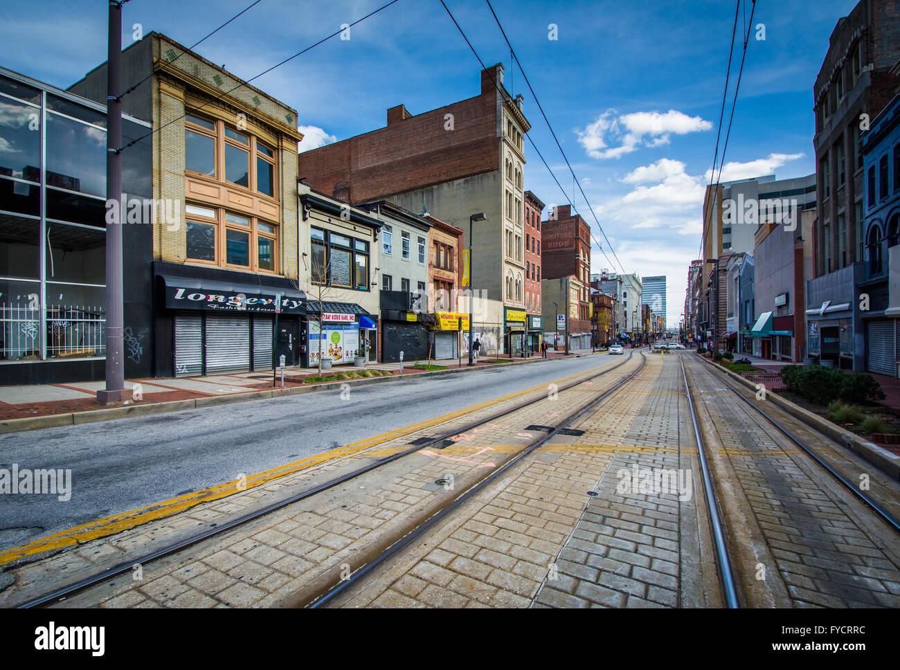 Light rail tracks along howard street in baltimore maryland stock light rail tracks along howard street in baltimore maryland mozeypictures Choice Image