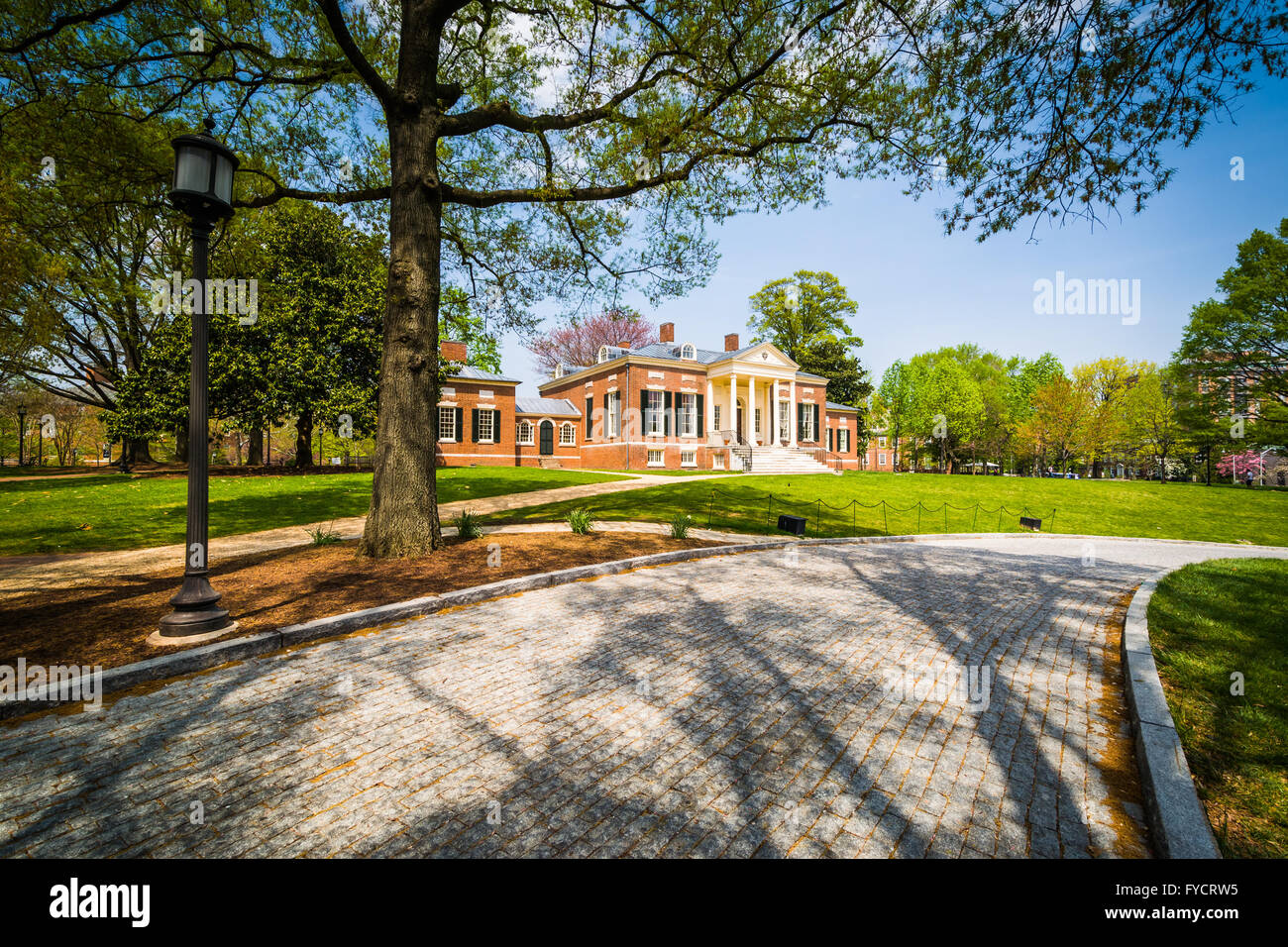 Road and the Homewood Museum at John Hopkins University, in Baltimore, Maryland. Stock Photo
