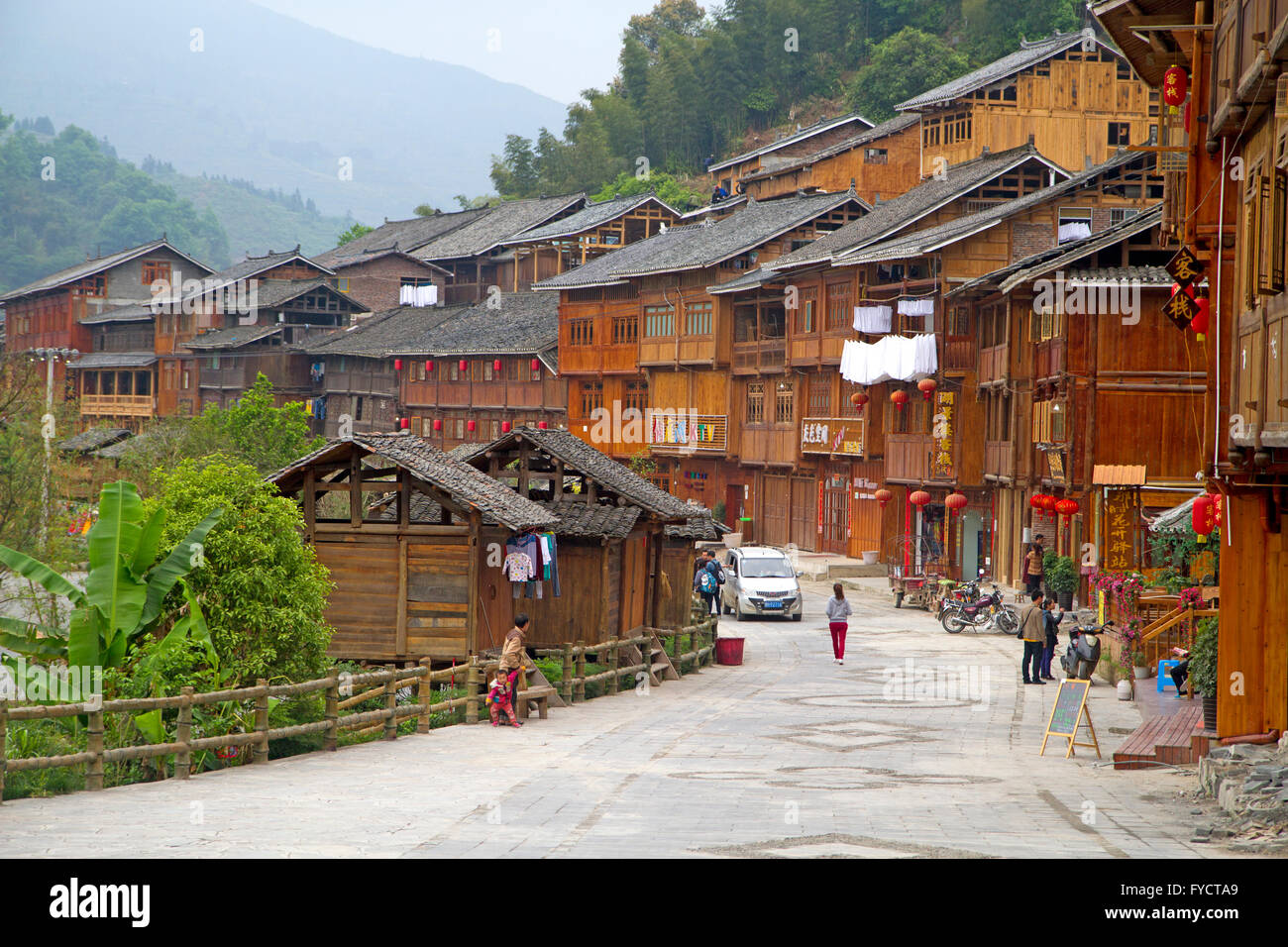 The Dong minority village of Zhaoxing Stock Photo