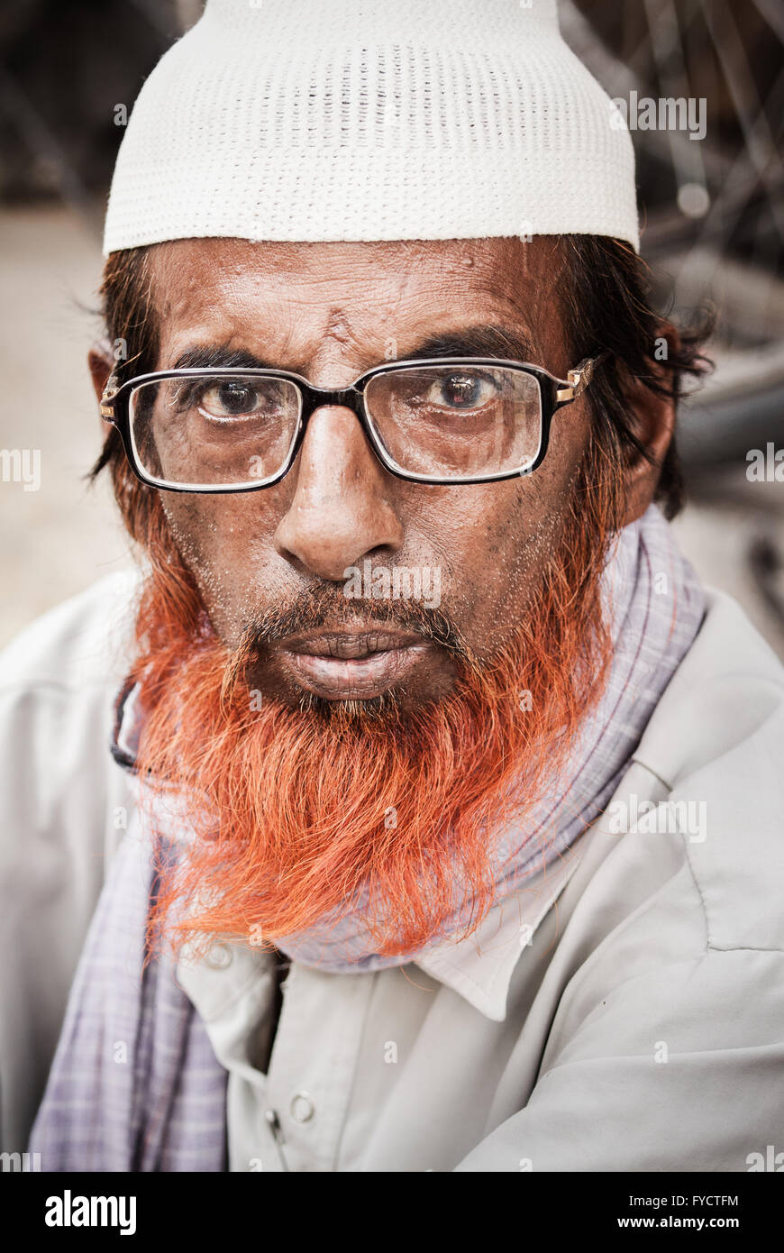 Henna Dyed Beard Displayed In A Portrait Photograph Of An Indian