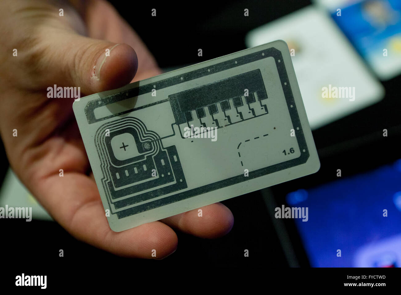 Credit card security chip circuit layout - USA - Stock Image