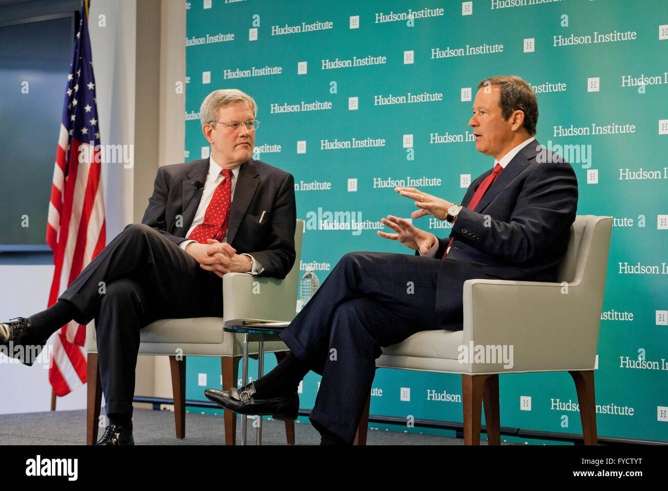 Alan Dabbiere, Chairman, Wandering Wifi and founder of AirWatch, speaking at Hudson Institute, Washington, DC USA - Stock Image