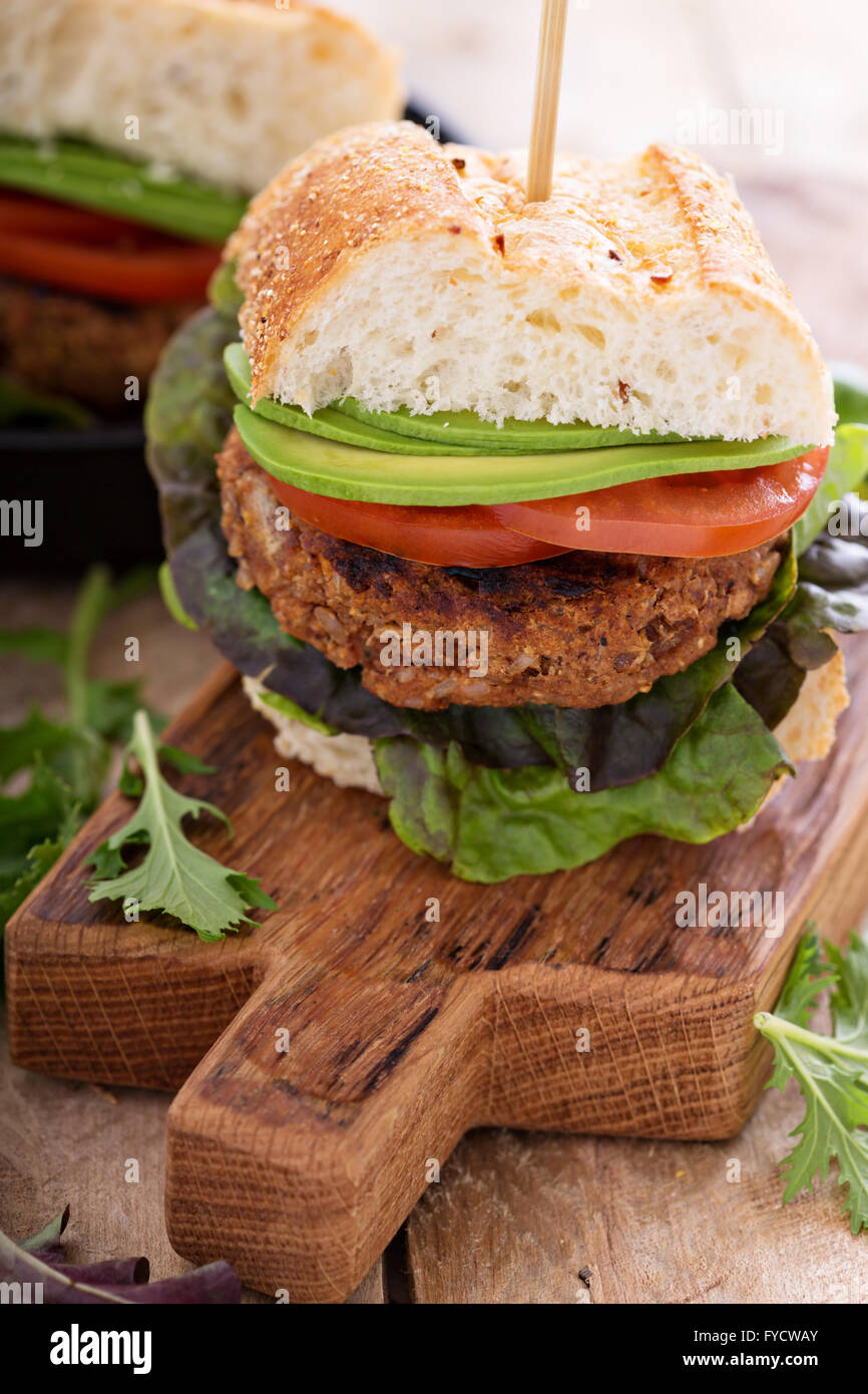 Vegan burgers with beans and rice - Stock Image