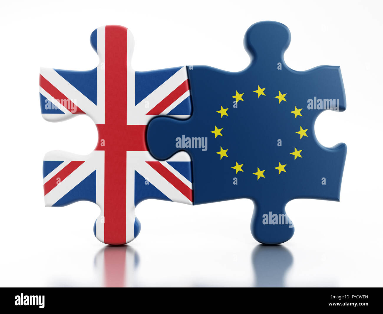 Britain and European Union flags on attached puzzle parts - Stock Image