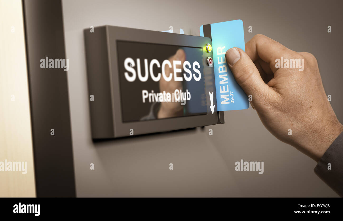Hand with blue cardkey unlocking access to success private club. Concept image for illustration of self realization - Stock Image