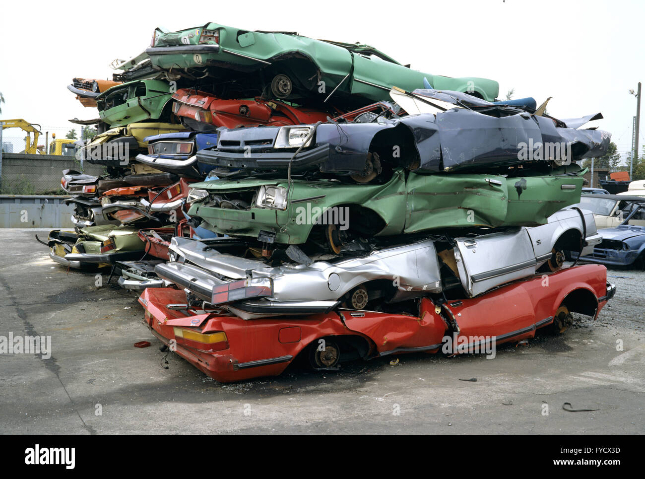Stacked scrap cars Stock Photo