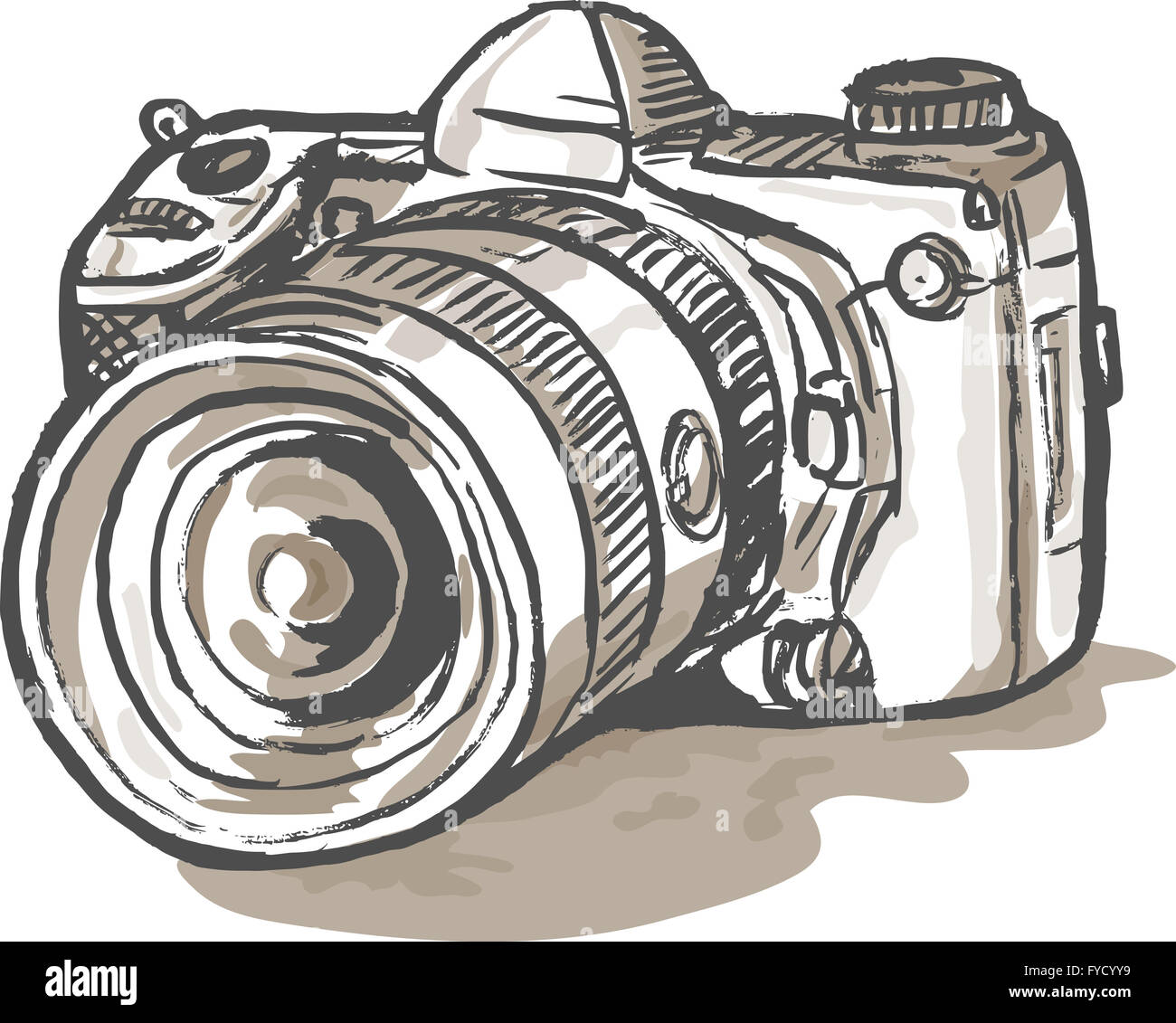 Drawing Of A Digital Slr Camera Stock Photo 102932909 Alamy Simple