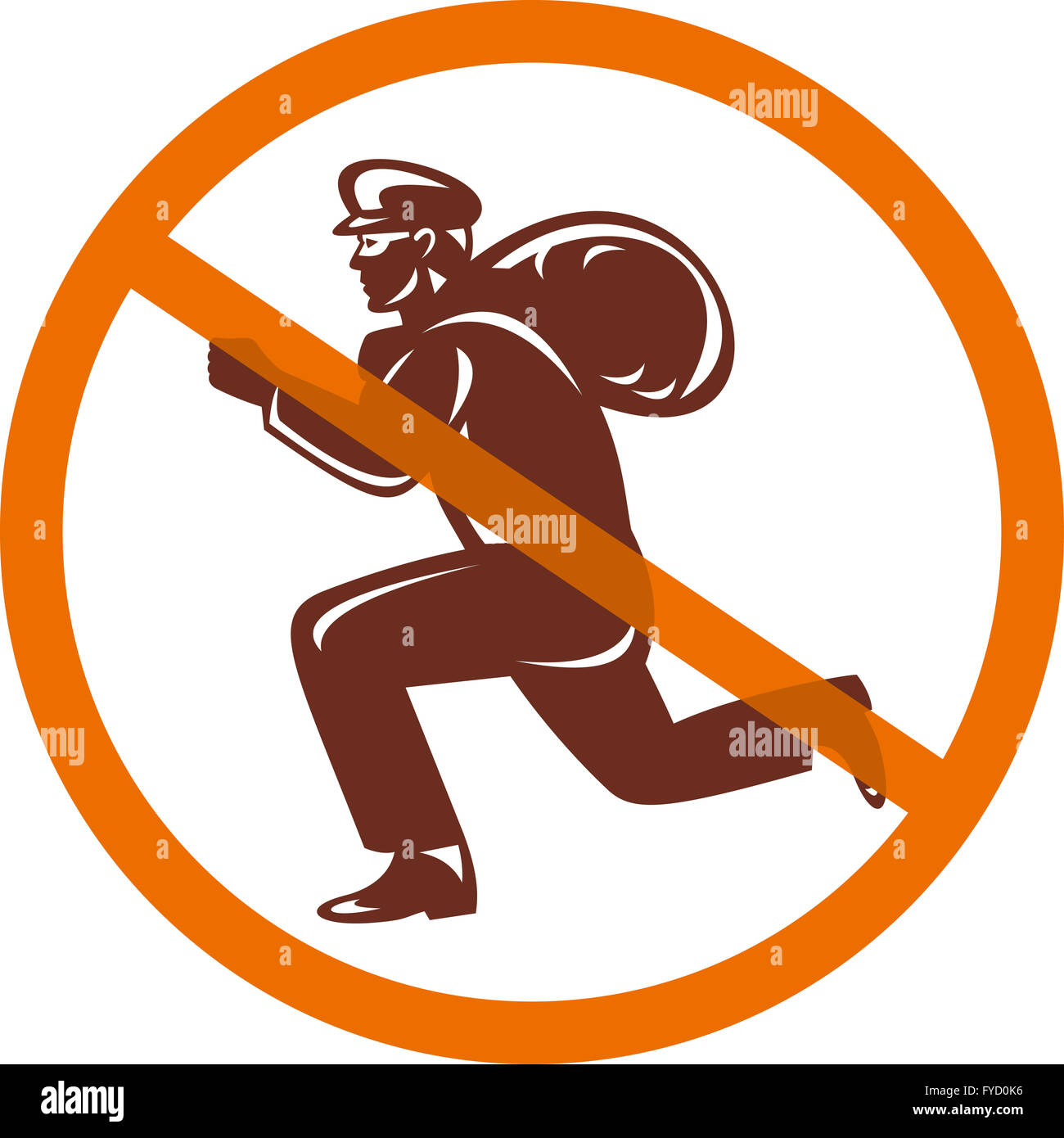 Sign of no burglar thief running with loot - Stock Image