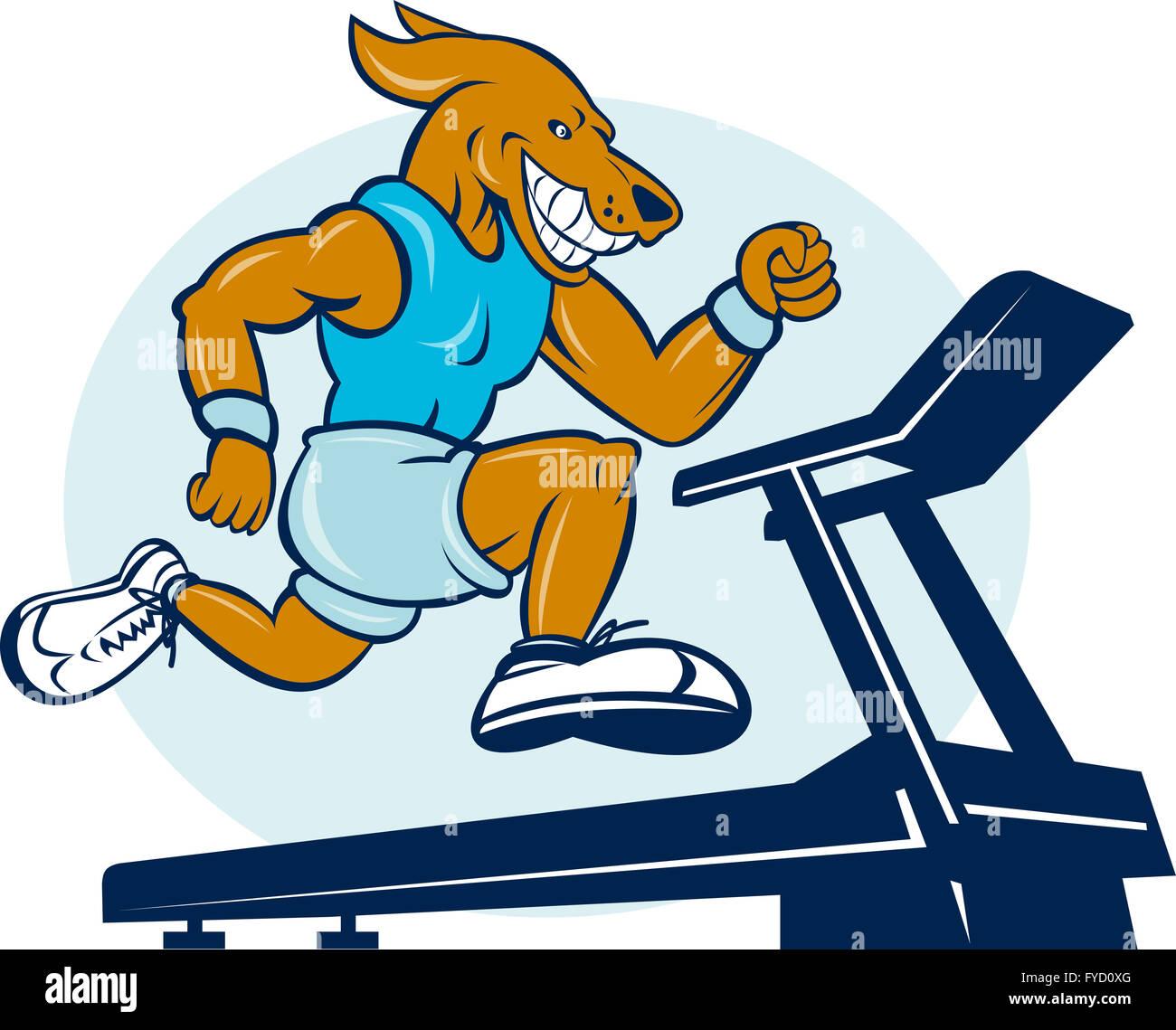 Dog running on tread mill isolated - Stock Image