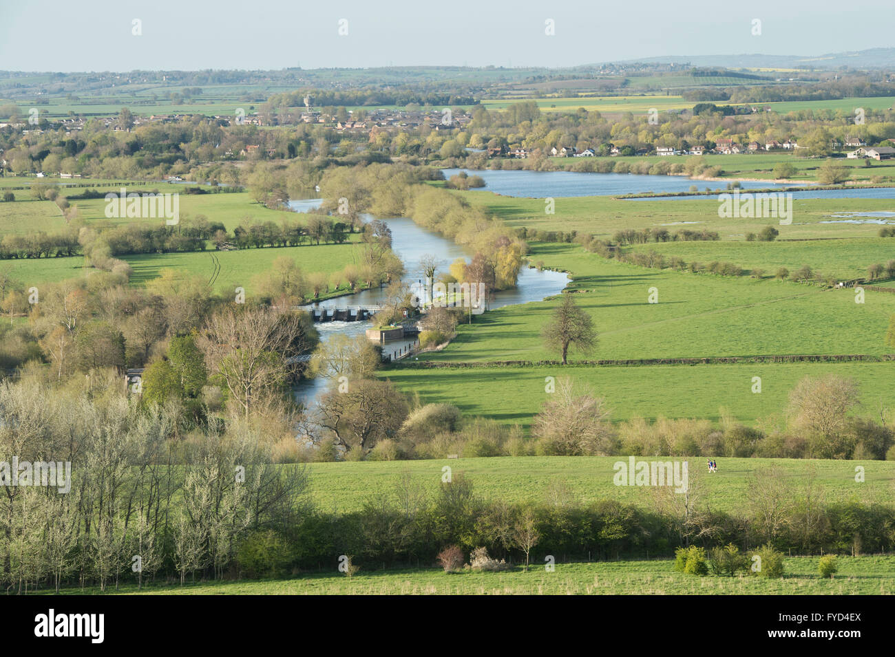 Looking over Day's Lock on the River Thames from Round Hill, Wittenham Clumps, near Dorchester on Thames, Oxfordshire, - Stock Image
