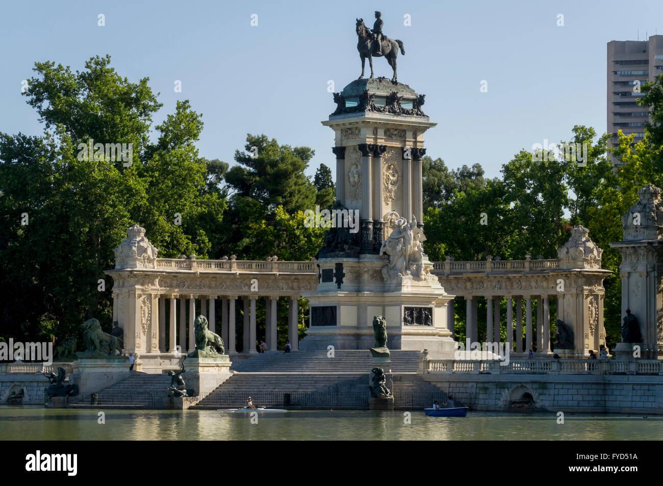Europe, Spain, Madrid, Retiro, Alfonso XII monument Stock Photo