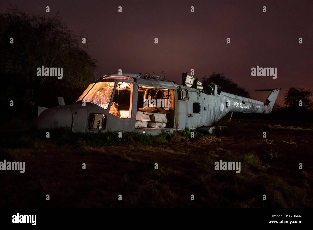 Abandoned helicopter, Derbyshire. - Stock Image