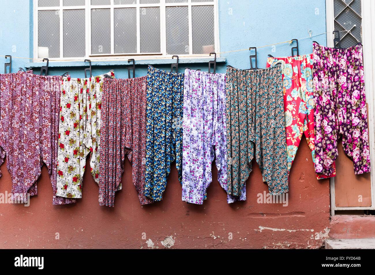 pyjamas pajamas shot of Cumalikizik touristic street Market in Bursa Turkey . Cumalikizik village is a popular tourist - Stock Image