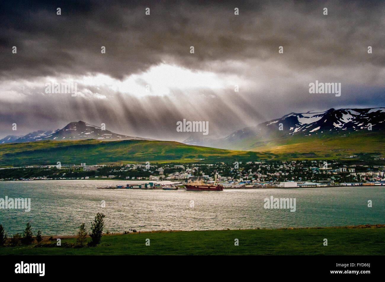 The Port of Akureyri, and Eyjafjörður - the longest fjord in Iceland. - Stock Image