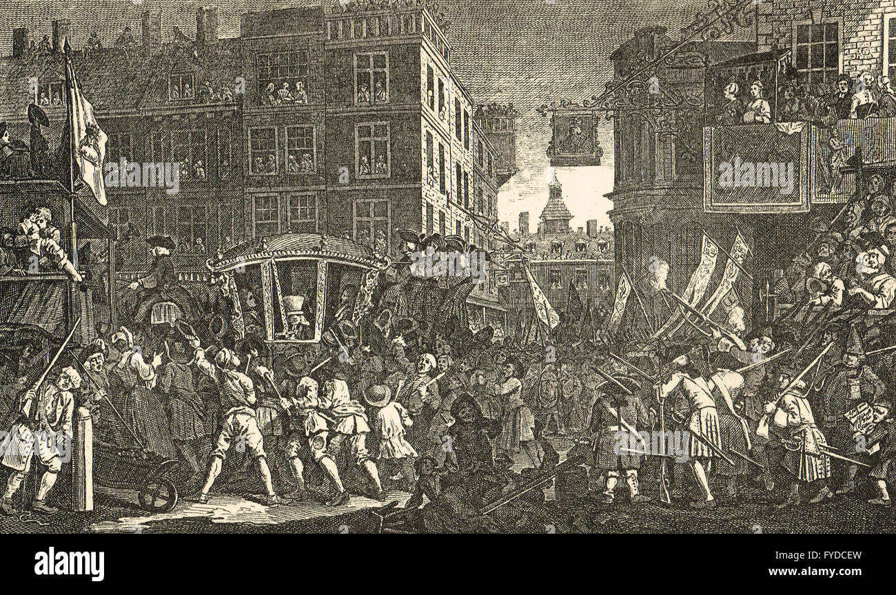 Industry & Idleness Plate 12 The Industrious 'Prentice Lord-Mayor of London by William Hogarth circa 1747 - Stock Image