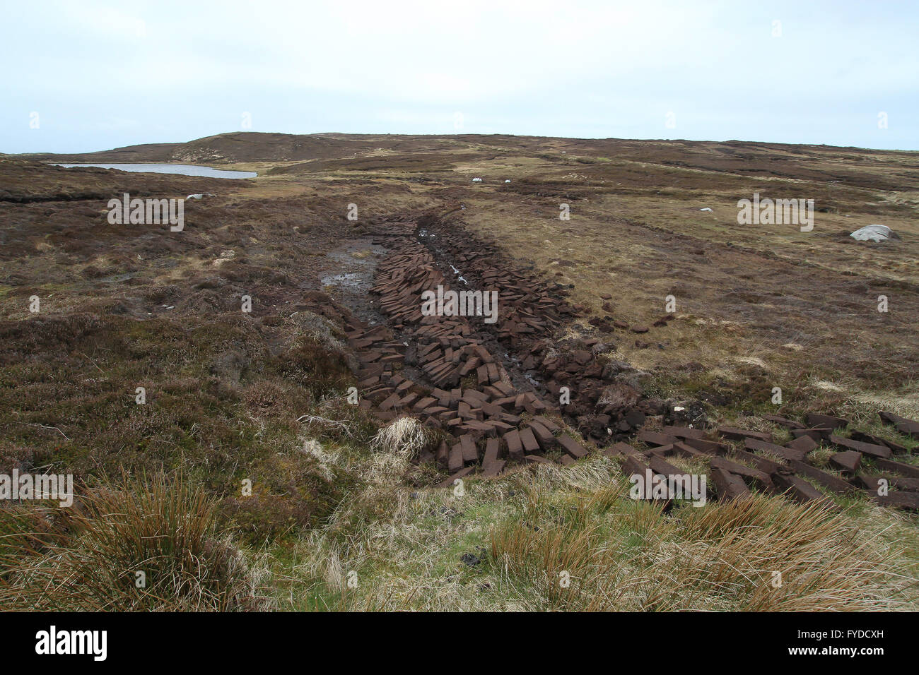 Bog and peat cuttings on Arranmore - the largest inhabited island in County Donegal Ireland. Stock Photo