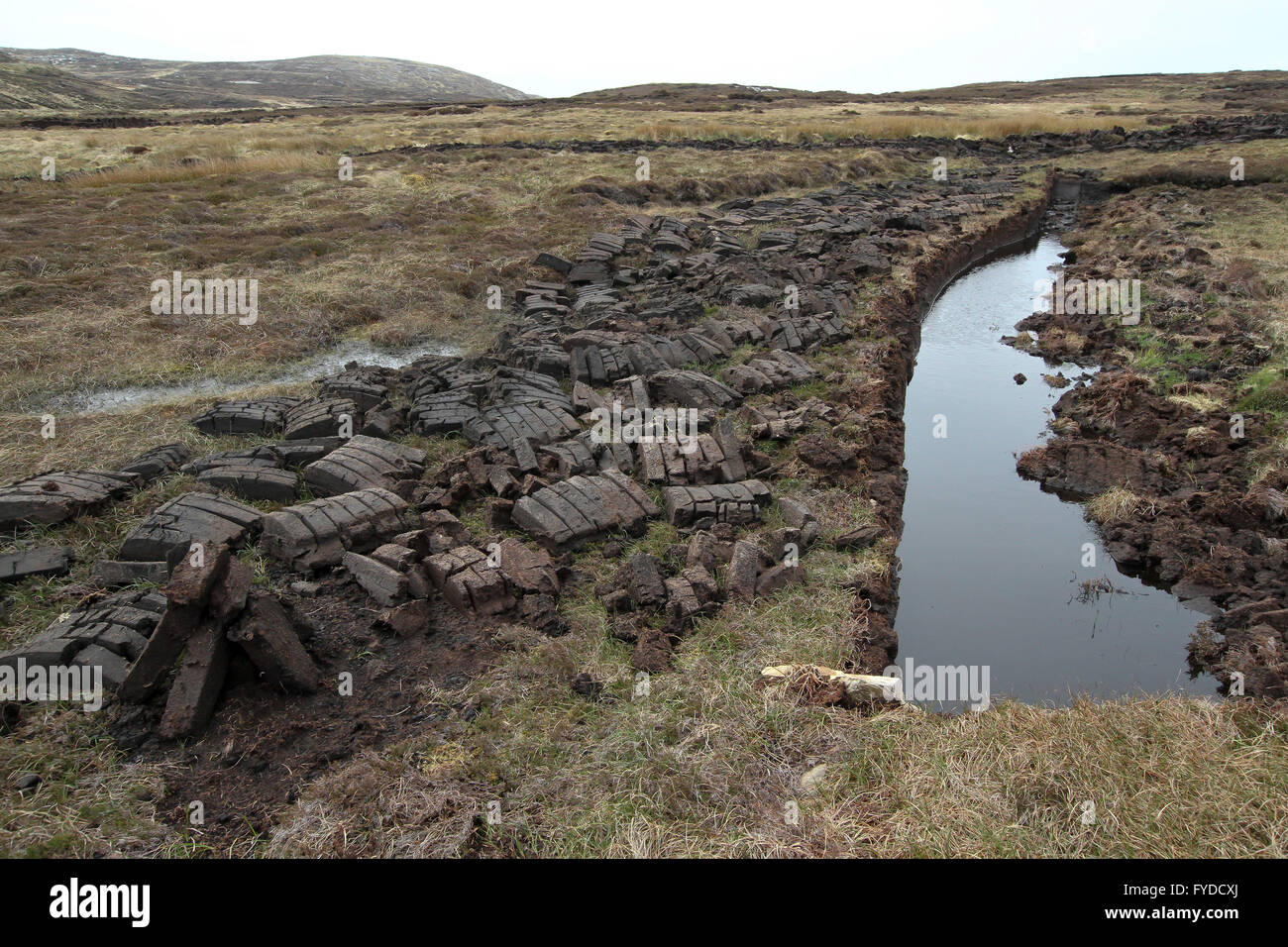 Bog and peat cuttings on Arranmore - the largest inhabited island in County Donegal Ireland. - Stock Image