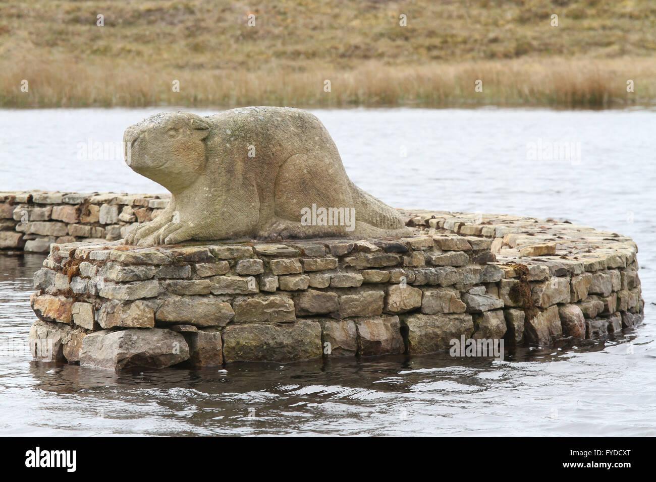 The Beaver Island Memorial  at Lough Thoir on Arranmore - Stock Image