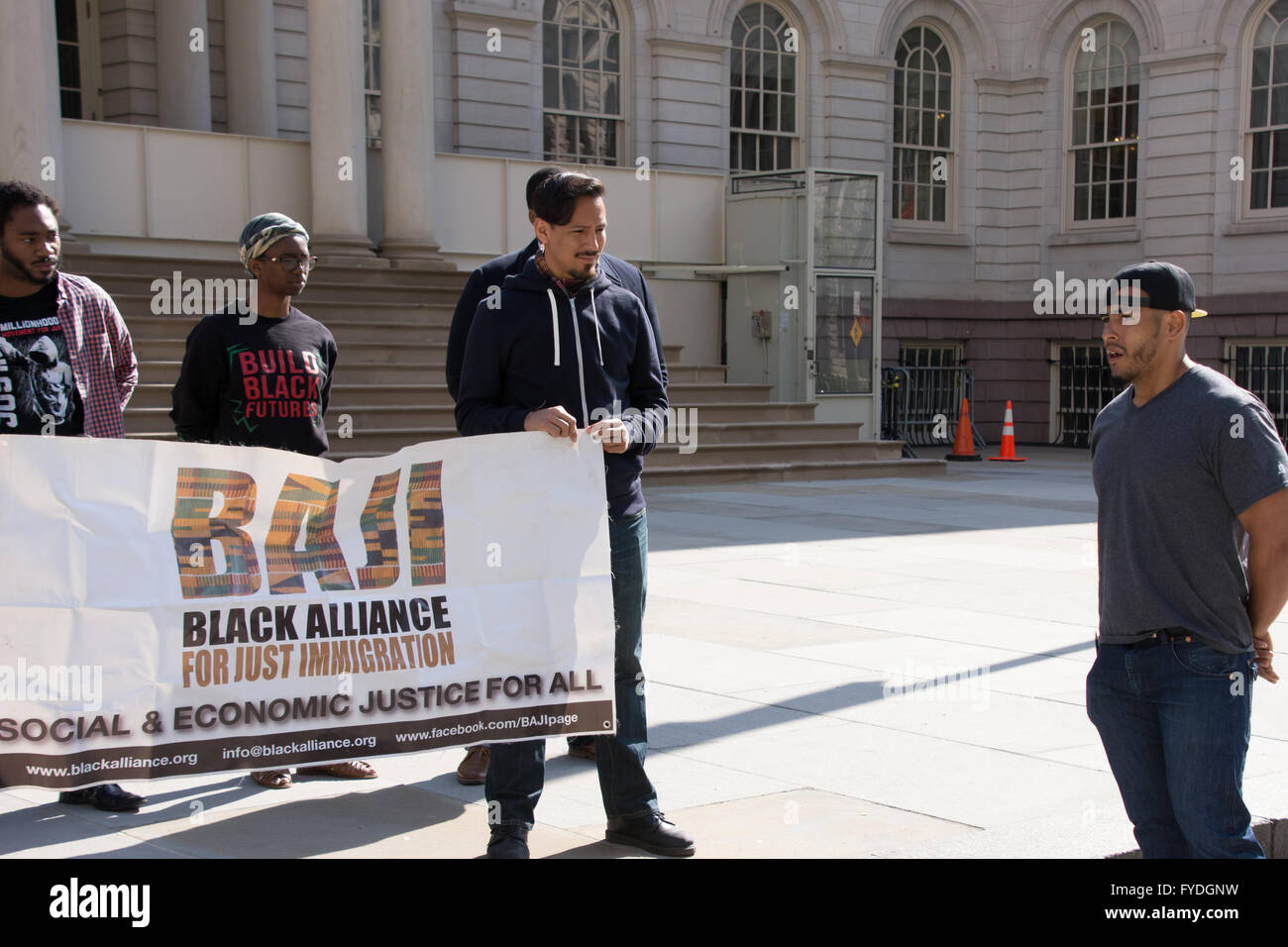 New York, USA. 25th April 2016. Josmar Trujillo of the Coalition to End Broken Windows spoke against police practices - Stock Image