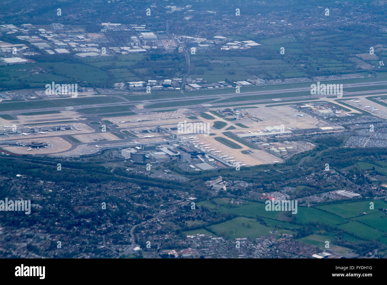 London UK. 25th April 2016.  Aerial photograph of Gatwick airport on an overcast day  as rain is forecast in LondonStock Photo